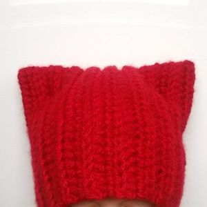 New Handmade dark Red Pussycat ears hat crochet